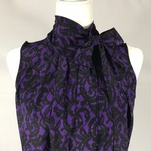 New York & Company- Purple Damask Tie Neck Tank S